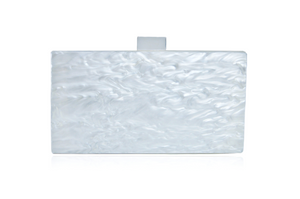 Mother of Pearl Acrylic Box Clutch - White pearl with clear clasp | HERS.BOUTIQUE