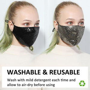 Hachiro Sequin Face Mask - Gold -  | HERS.BOUTIQUE