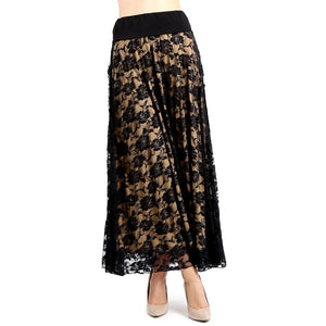 Evanese Women's Fold Over Wide Waist Band with Elastic Full Maxi Long Lace Skirt - Black/Tan Lace / XS | HERS.BOUTIQUE