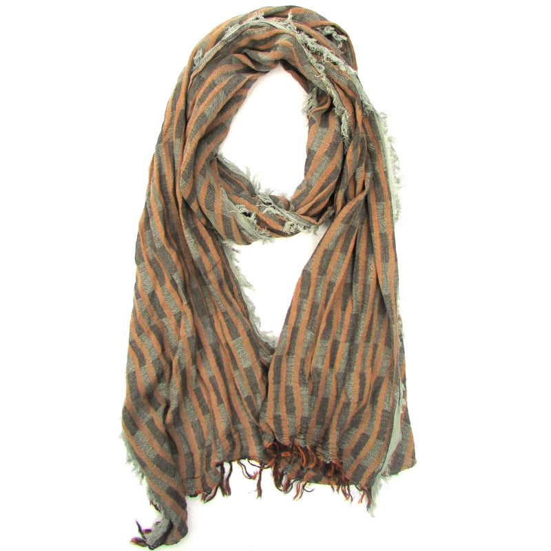Turkish Cotton Blend Fringed Hobo Scarf Brown/Grey -  | HERS.BOUTIQUE