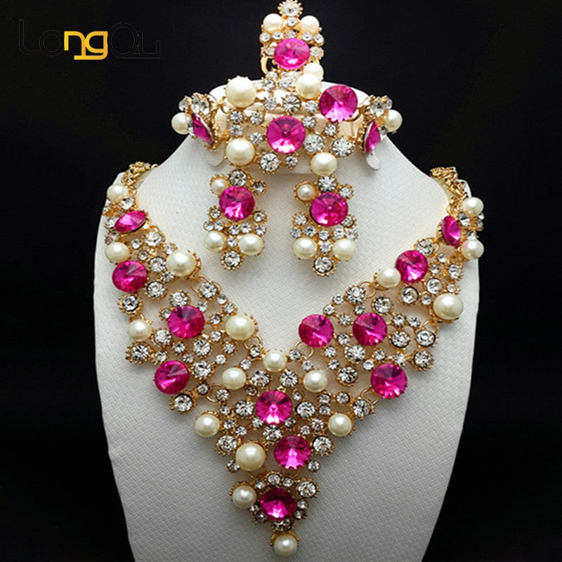 Gadina Stones Jewelry Set - Pink | HERS.BOUTIQUE