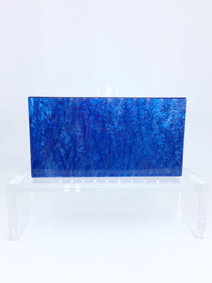 Mother of Pearl Acrylic Box Clutch - Blue With Clear Clasp | HERS.BOUTIQUE