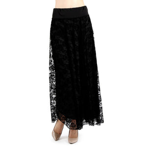 Evanese Women's Fold Over Wide Waist Band with Elastic Full Maxi Long Lace Skirt - Black/Black Lace / XS | HERS.BOUTIQUE