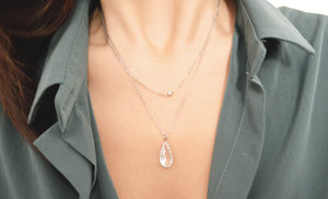 White gold layered crystal drop necklace -  | HERS.BOUTIQUE