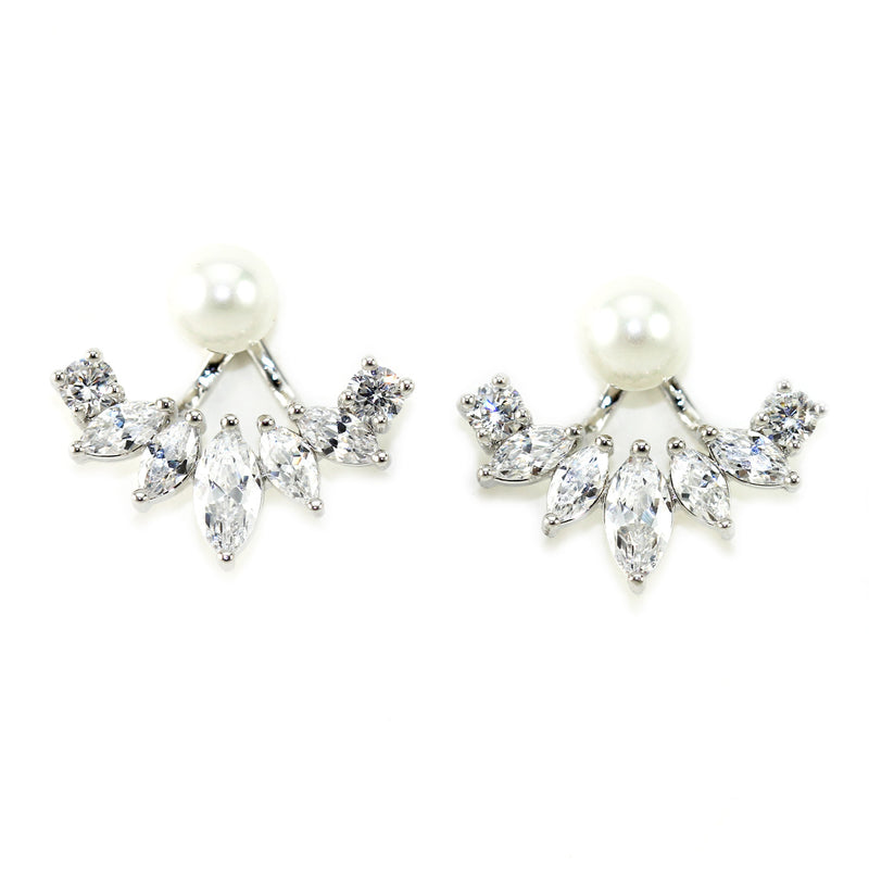 Iced Pearl Ear Jacket - 18k White Gold | HERS.BOUTIQUE