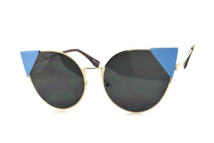 Cateye Pointed Sunglasses - Blue/Black | HERS.BOUTIQUE