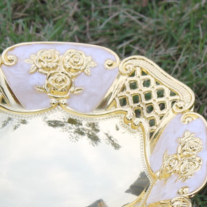 Elegant hollow golden plated dried fruit plate snack tray /luxury home fruit bowl -  | HERS.BOUTIQUE