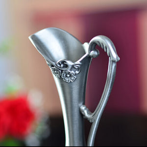 Pewter Plated Metal flower Decoration -  | HERS.BOUTIQUE