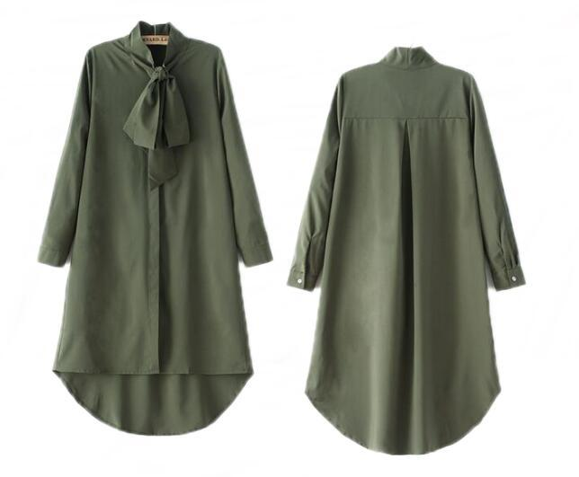 Bow chiffon shirt - Green / XS | HERS.BOUTIQUE