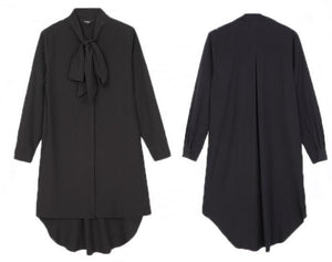 Bow chiffon shirt - Black / XS | HERS.BOUTIQUE
