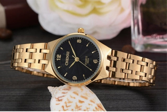 CHENXI Gold Watch - White | HERS.BOUTIQUE