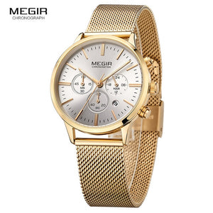 Megir Luminous Function Watch - Gold | HERS.BOUTIQUE