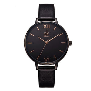 Shengke Watches Leather - black | HERS.BOUTIQUE