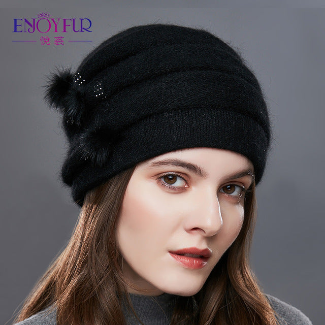 EnjoyFur Knitted Hat - Black | HERS.BOUTIQUE