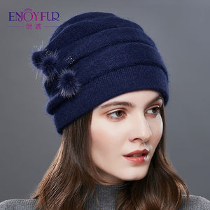 EnjoyFur Knitted Hat - Blue | HERS.BOUTIQUE