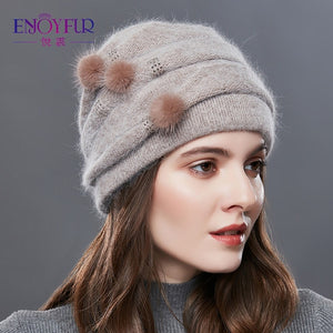 EnjoyFur Knitted Hat - Brown | HERS.BOUTIQUE