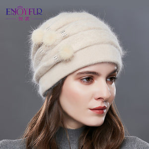 EnjoyFur Knitted Hat - Beige | HERS.BOUTIQUE