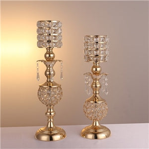 Crystal Candle Holders - 1 Lot / Golden | HERS.BOUTIQUE