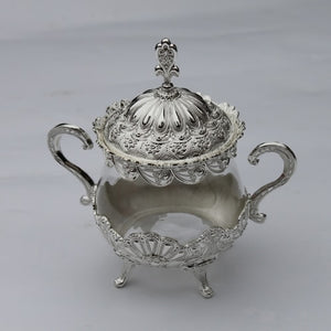 Unique European Style Gold/ Silver Finish Metal & Glass Pot - Silver | HERS.BOUTIQUE