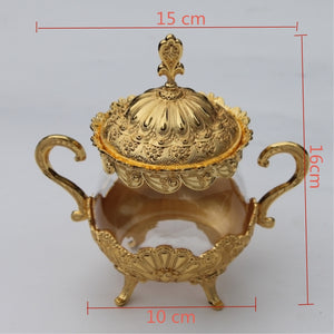 Unique European Style Gold/ Silver Finish Metal & Glass Pot -  | HERS.BOUTIQUE