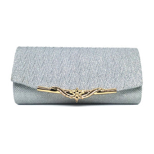 Sequined Evening Clutch - Silver | HERS.BOUTIQUE