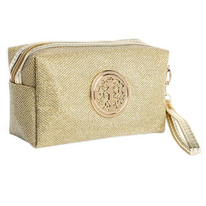 Women Cosmetic Travel Bag - Gold | HERS.BOUTIQUE