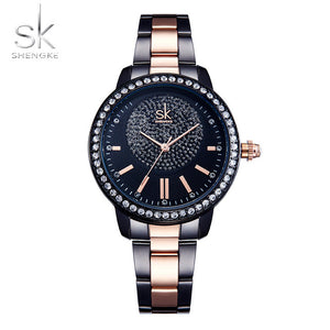 Shengke Rose Watch - Black | HERS.BOUTIQUE