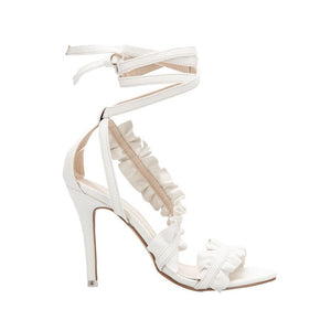 LALA IKAI Ankle Strap Sandals - White / 6.5 | HERS.BOUTIQUE