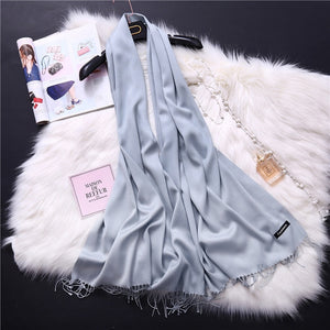 Pashmina Scarves - light gray | HERS.BOUTIQUE