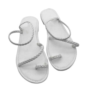 MCCKLE Thong Sandals - White / 6 | HERS.BOUTIQUE