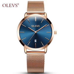 Olevs Woman Watch - Gold Blue | HERS.BOUTIQUE
