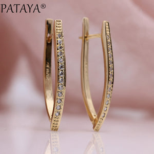 PATAYA V Shape Long Earrings - Gold Silver | HERS.BOUTIQUE