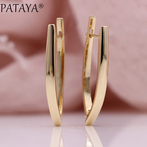 PATAYA V Shape Long Earrings - Gold | HERS.BOUTIQUE
