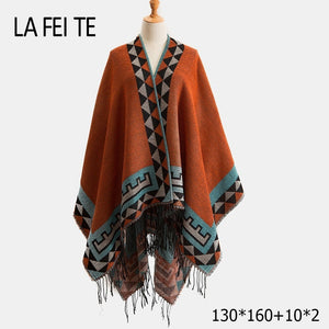 LA FEI TE Cashmere Poncho - Orange / 130X160 | HERS.BOUTIQUE