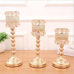 Elegant Gold Candle Holders - 1 SET / Gold | HERS.BOUTIQUE