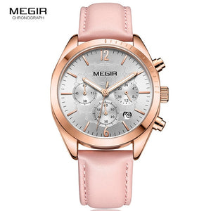 MEGIR Chronograph Leather Watch - Pink | HERS.BOUTIQUE