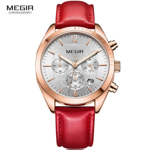 MEGIR Chronograph Leather Watch - Red | HERS.BOUTIQUE
