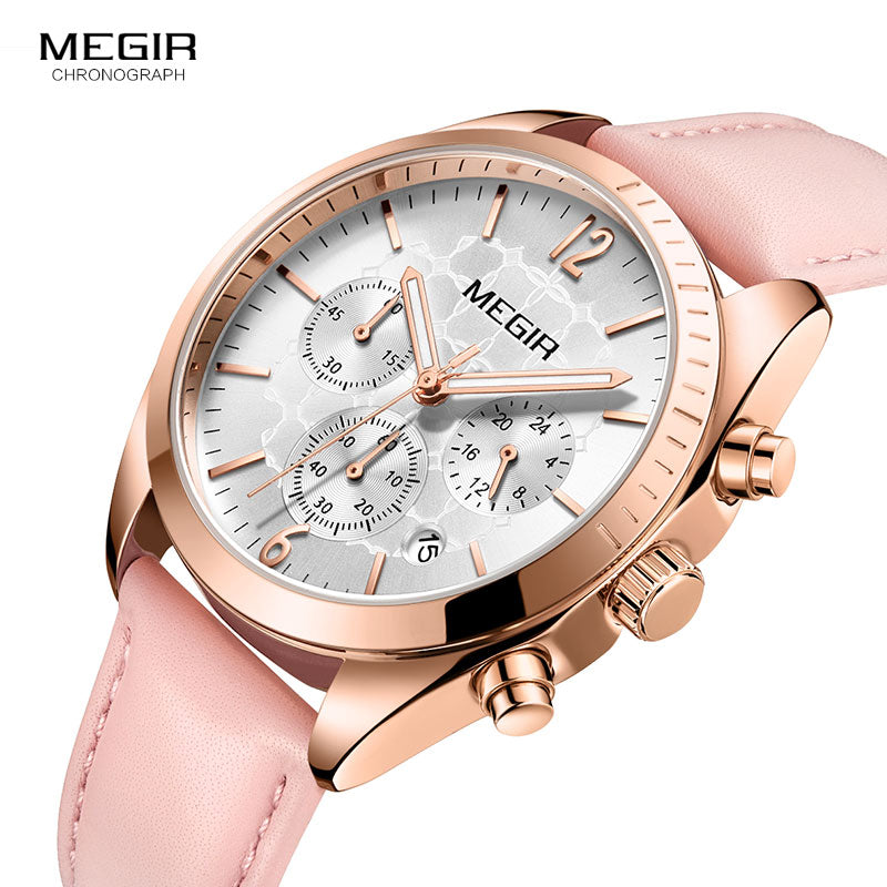 MEGIR Chronograph Leather Watch -  | HERS.BOUTIQUE