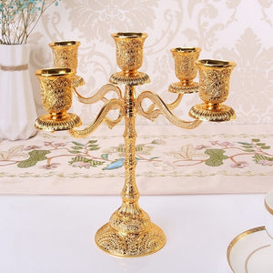 Tabletop Candle Stand - 5 Arms / Gold | HERS.BOUTIQUE