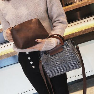 Casual Woolen Crossbody Bag - Gray | HERS.BOUTIQUE