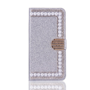 Decorative Leather IPhone 7 Plus Case - Silver White | HERS.BOUTIQUE