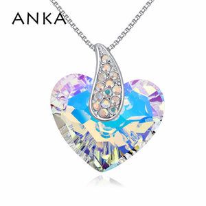 ANKA Crystal Heart Necklace - Silver | HERS.BOUTIQUE