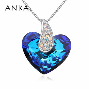 ANKA Crystal Heart Necklace - Blue | HERS.BOUTIQUE
