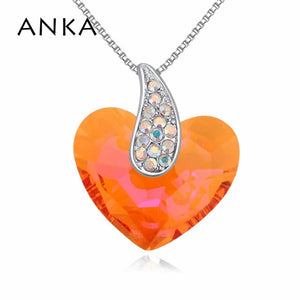 ANKA Crystal Heart Necklace - Orange | HERS.BOUTIQUE