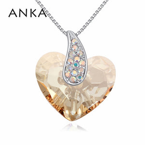 ANKA Crystal Heart Necklace - Gold | HERS.BOUTIQUE