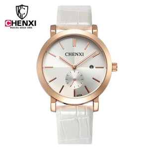 Chenxi Genuine Leather - Gold White | HERS.BOUTIQUE