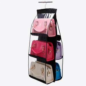 6 Pocket Folding Hanging Handbag Storage Organizer - Black | HERS.BOUTIQUE