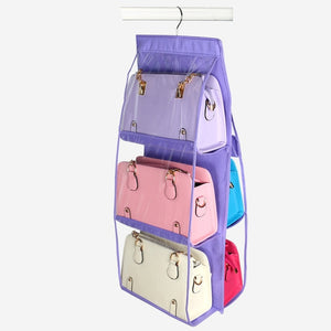 6 Pocket Folding Hanging Handbag Storage Organizer - Purple | HERS.BOUTIQUE