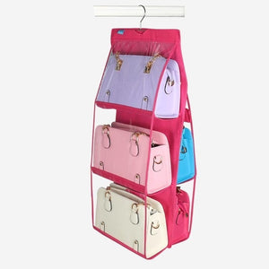 6 Pocket Folding Hanging Handbag Storage Organizer - Pink | HERS.BOUTIQUE