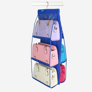 6 Pocket Folding Hanging Handbag Storage Organizer - Blue | HERS.BOUTIQUE